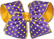 Purple with Yellow Gold Dots over Yellow Gold Large Double Layer Bow