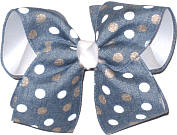 Light Denim with White and Gold Dots over White Large Double Layer Bow