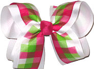 Pink Green White over White Large Double Layer Bow
