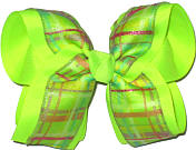 Green and Pink over Neon Lime Large Double Layer Bow