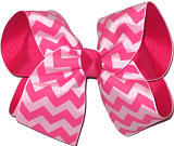 Shocking Pink Hot Pink and Pink Large Double Layer Bow