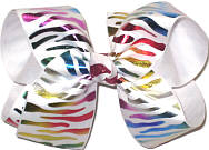 Rainbow Metallic Zebra Stripe Large Double Layer Bow