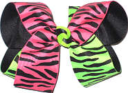 Large Neon Pink and Black Zebra Stripe and Neon Green and Black Zebra Stripe over Black Grosgrain Large Double Layer Bow