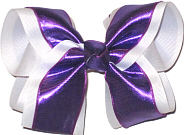 Purple/White Large Double Layer Bow
