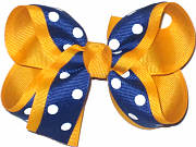 Medium Century Blue with White Dots over Yellow Gold Grosgrain School Bow