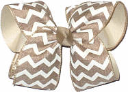 Large Oatmeal and White Canvas over Oatmeal School Bow