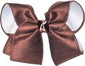 Large White Grosgrain and Brown Satin School Bow