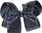 Navy Glitter over Navy Grosgrain Large Double Layer Bow