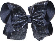Navy Glitter Over Navy Grosgrain MEGA Extra Large Double Layer Bow