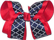Large Red Navy and White School Bow