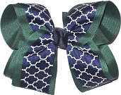 Large Evergreen Navy and White School Bow