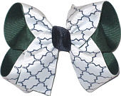 Medium Evergreen White and Navy School Bow