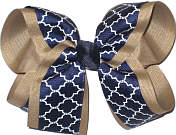Large Khaki Navy and White School Bow