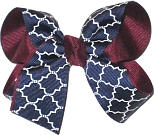 Medium Burgundy Navy and White School Bow
