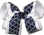 Large White and Navy School Bow