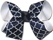 Medium White and Navy School Bow