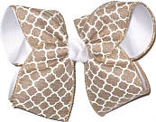 Large Khaki and White School Bow