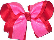 Three Layers (Red, Hot Pink, Hot Pink Glitter Large Double Layer Bow