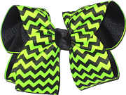 Black and Neon Lime Large Double Layer Bow