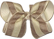 Large Khaki and Oatmeal Stripe Canvas over Oatmeal School Bow