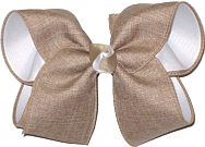 Large Oatmeal Canvas over White Grograin School Bow