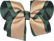 Large Evergreen and Khaki School Bow