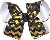 Black and Metallic Gold Chevron over White Grosgrain Large Double Layer Bow