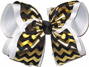 Black and Metallic Gold Over White Grosgrain MEGA Extra Large Double Layer Bow
