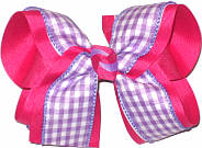 Light Orchid and White over Shocking Pink Large Double Layer Bow