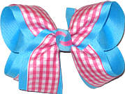 Pink and White over Millenium Blue Large Double Layer Bow
