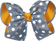 Light Denim with White and Gold Dots over Yellow Gold Large Double Layer Bow