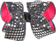 Three Layer: Shocking Pink, Black, and Sequin Ribbon on Top Large Double Layer Bow