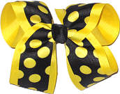 Black with Maize Dots over Maize Large Double Layer Bow