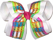 Multicolor Stripes over White Large Double Layer Bow