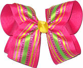 Multicolor Stripes over Shocking Pink Large Double Layer Bow