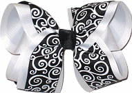 Black and White over White Large Double Layer Bow