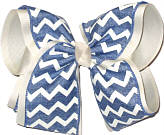 Light Denim and Ivory MEGA Extra Large Double Layer Bow