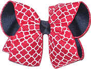 Red and White or Navy Large Double Layer Bow