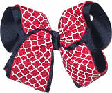 Red and White Over Navy MEGA Extra Large Double Layer Bow
