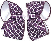 Regal Purple and White Large Double Layer Bow