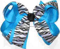 Black and White Tiger over Mystic Blue Large Double Layer Bow
