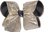 Platinum Heavy Glitter or Black Grograin with Black Satin Knot Large Double Layer Bow