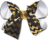 Black and Metallic Gold Medium Double Layer Bow
