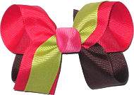 Geranium Chocolate Chip and Pistachio with Hot Pink Knot Medium Double Layer Bow