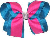 Sapphire Raspberry Rose and Millenium Gray Knot Large Double Layer Bow