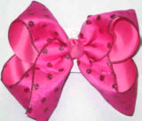 Hot Pink Glitter Dots over Hot Pink Large Double Layer Bow