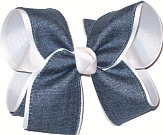 Denim and White Large Double Layer Bow