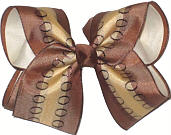 Brown and Khaki over Light Ivory Large Double Layer Bow