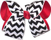 Black and White Chevron over Red Grosgrain Large Double Layer Bow