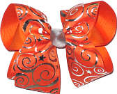 Silver and Orange over Orange Large Double Layer Bow